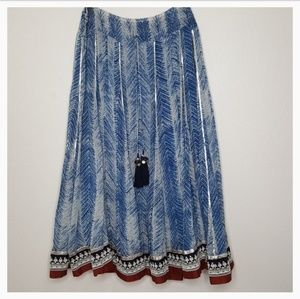 Soft Surroundings Blue Boho Maxi Skirt
